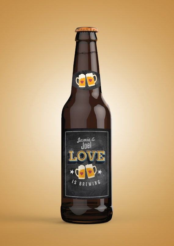 love is brewing coed bridal shower invitation beer label