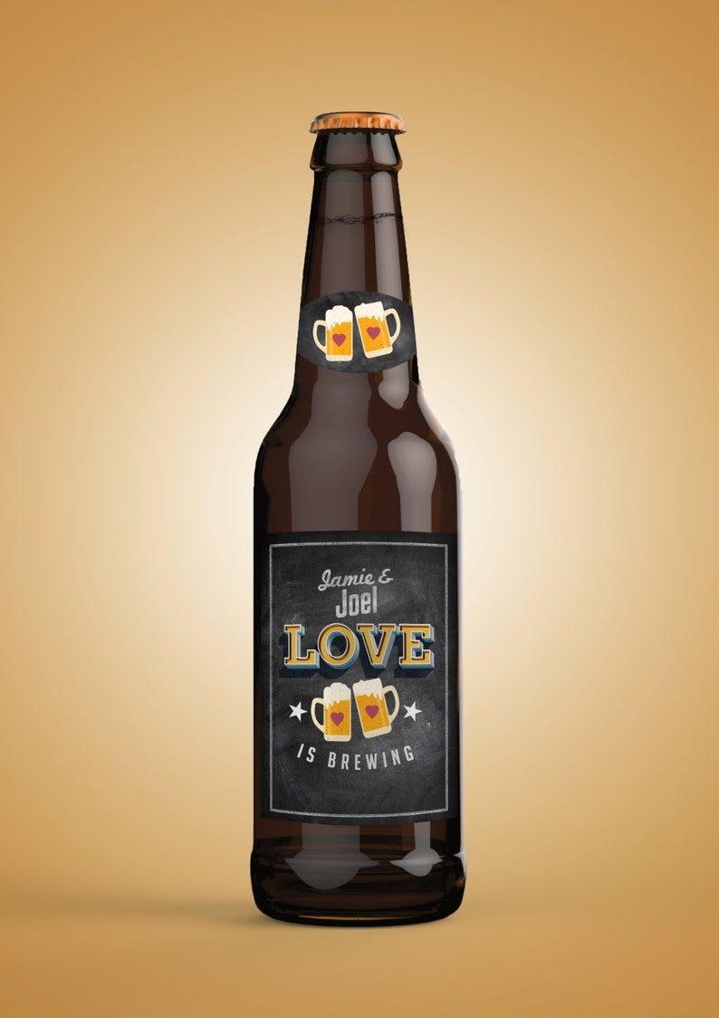 love is brewing Coed bridal shower invitation Beer label LOVE-CHALKBOARD