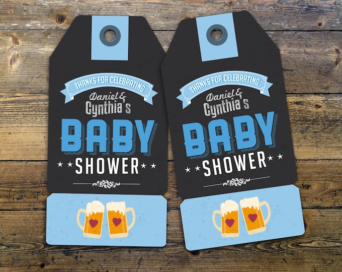 "Party favor tag ""Baby is Brewing"" baby shower, baby shower games, baby shower sign, beer and BBQ, Tea baby shower"
