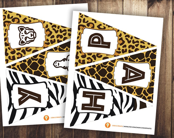 Safari birthday, ZOO, - Personalized DIY printable pennant banner, baby shower, animal print, birthday party, party decorations, zebra