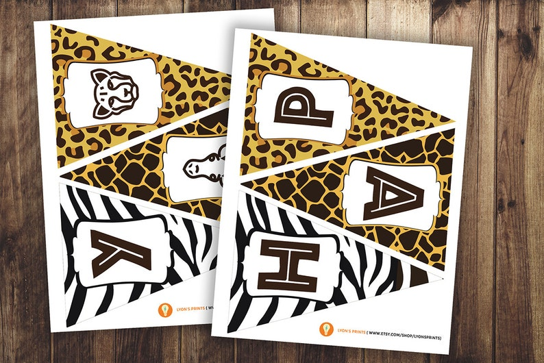 Safari birthday ZOO  Personalized DIY printable pennant image 0