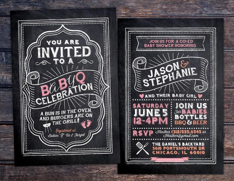 BabyQ chalkboard couples co-ed Baby Shower BBQ invitation  image 0