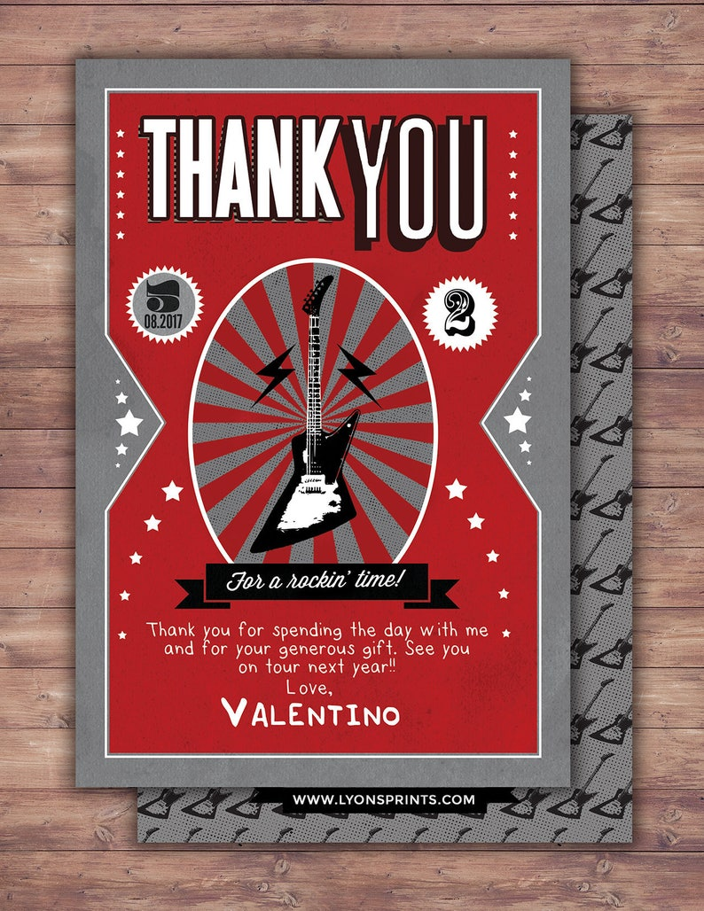 Thank You Card  Greeting Card  All occasion card  rockstar image 0