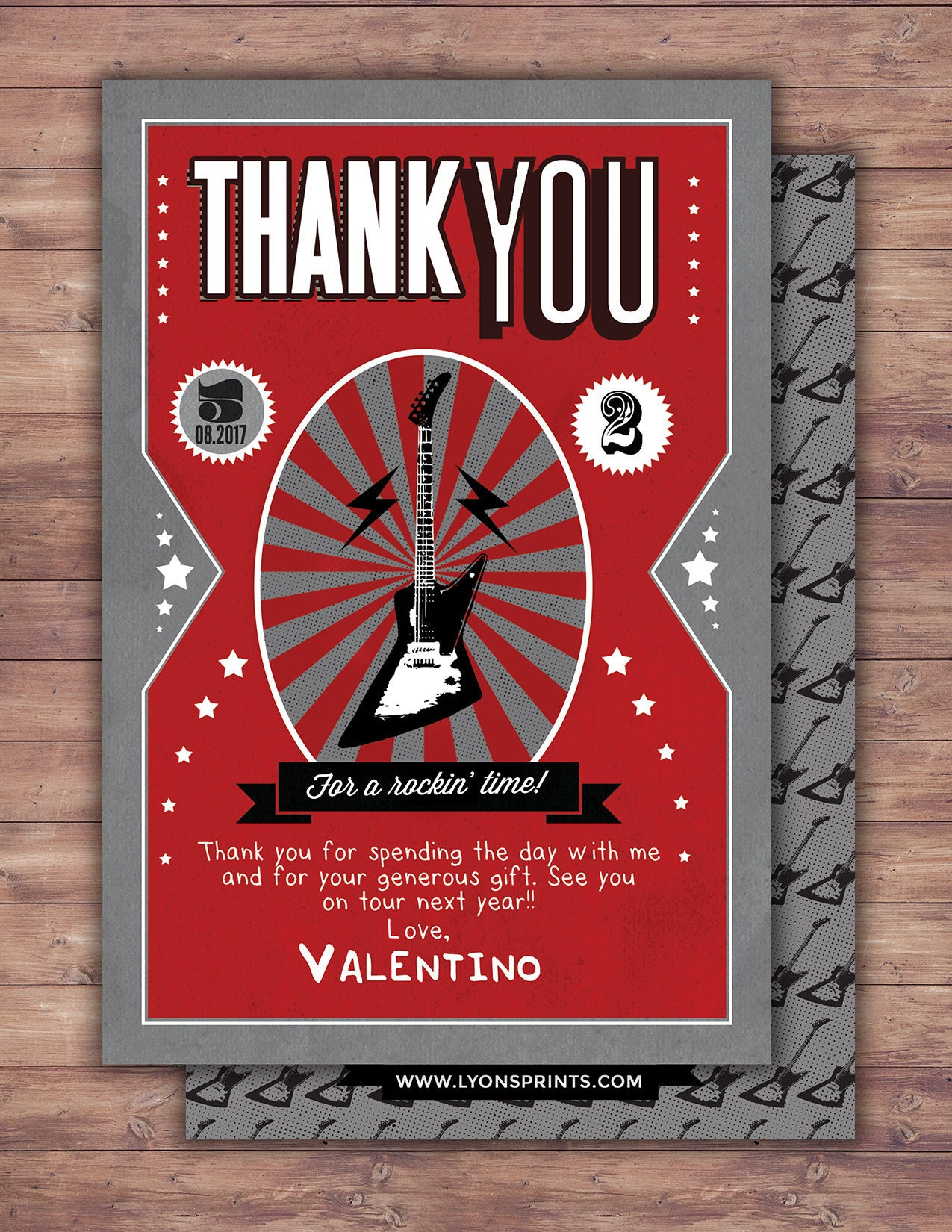 Thank You Card Greeting Card All Occasion Card Rockstar Thank