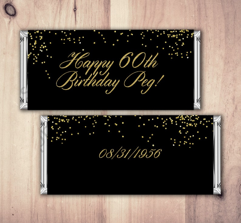 Birthday Candy Bar Wrappers  Gold Silver Adult Milestone image 0
