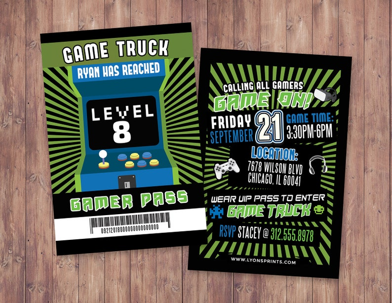 Video Game Invitation Game Truck Party Invitations Video Etsy