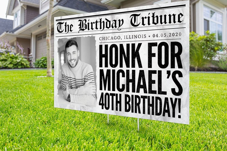 Happy birthday Yard Sign Digital file only Honk outdoor PHOTO
