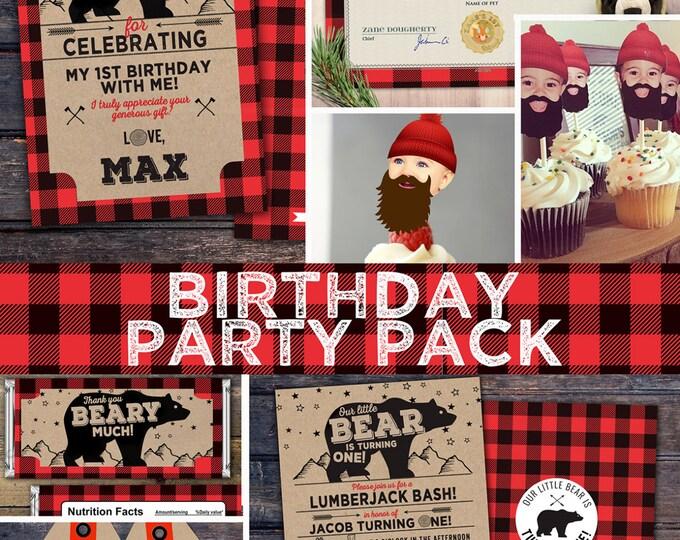 ANY AGE,Lumberjack birthday Invitation //  Buffalo Plaid Woodland Invitation // Lumberjack Invite // Rustic  //  Bear , camping, party pack