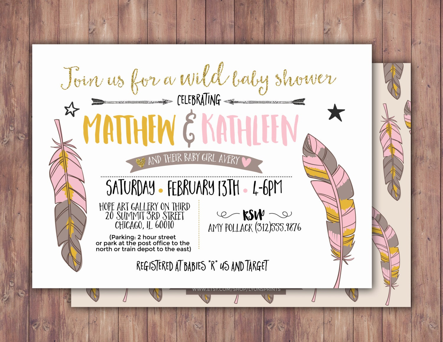 tribal baby shower invitation boho baby shower invite feathers