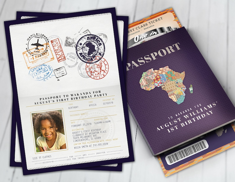 PASSPORT and TICKET Birthday invitation Wakanda Africa FULL SET