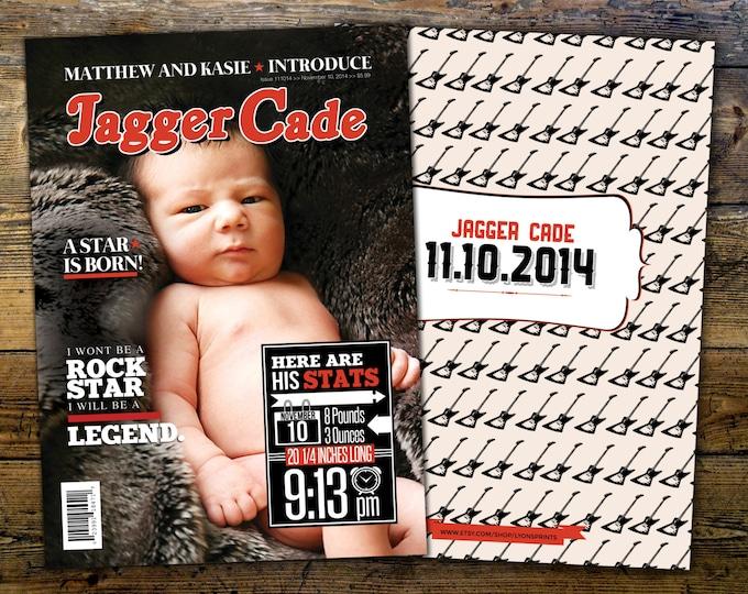 Rock Star magazine  theme birth announcement, baby boy, rockstar, baby shower, rock star party, rock n roll, pop star, hip hop