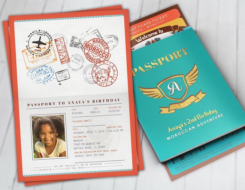 Morocco Passport and ticket birthday invitation Girl image 0