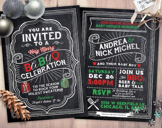 BabyQ chalkboard couples co-ed Baby Shower BBQ invitation - babyq - boy girl gender neutral - baby is brewing, baby boy, Holiday shower,