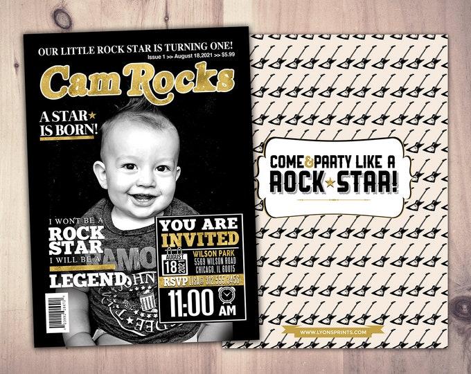 Rock Star magazine theme birthday invitation, rockstar, baby shower, rock star party, rock n roll, pop star, hip hop, guitar