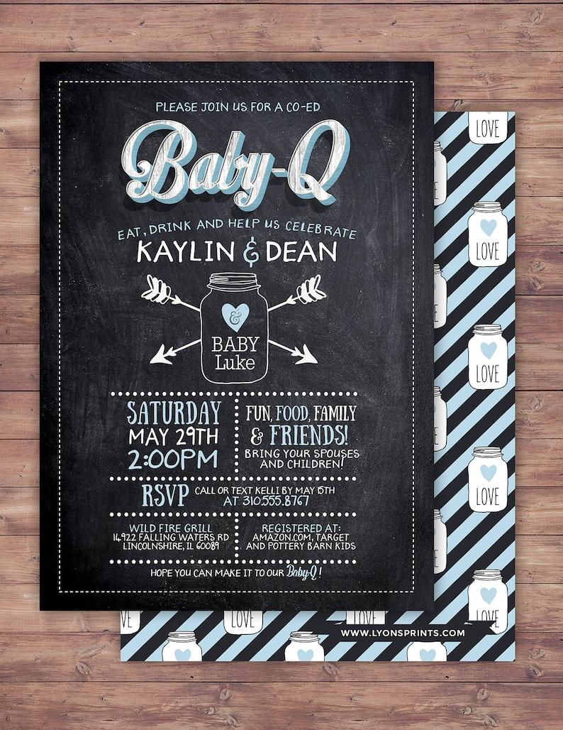 Chalkboard rustic BOHO BabyQ invitation couples co-ed image 0