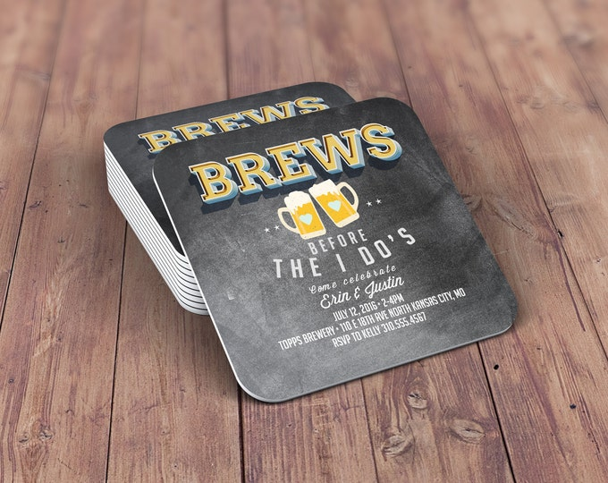 Digital logo file, brews before the I do's , Coed wedding shower invitation- Beer- couples shower  -  BBQ, bridal shower, wedding, coaster