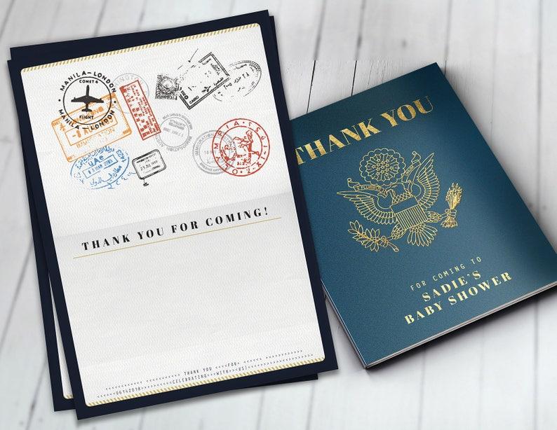 Thank you card passport travel theme travel party Digital Blue