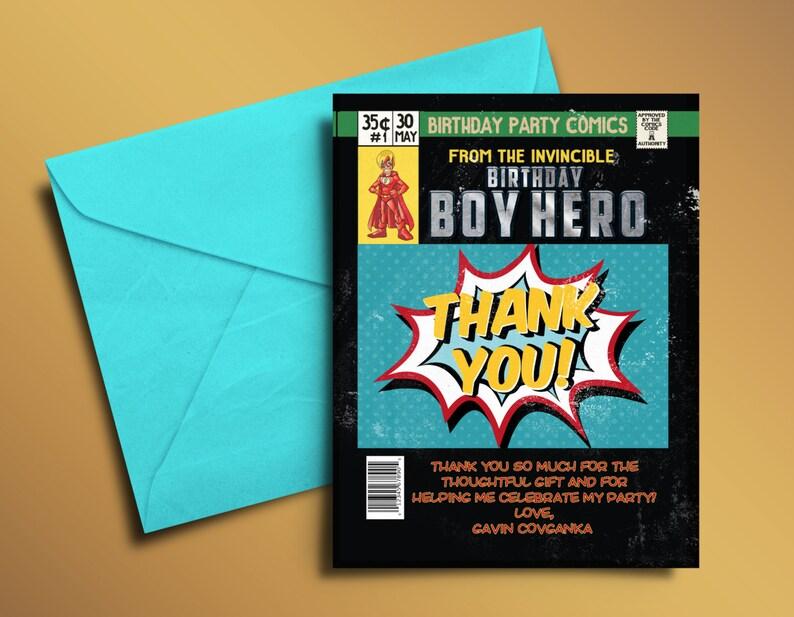 Super Hero Birthday Invitations Super Hero thank you card image 1