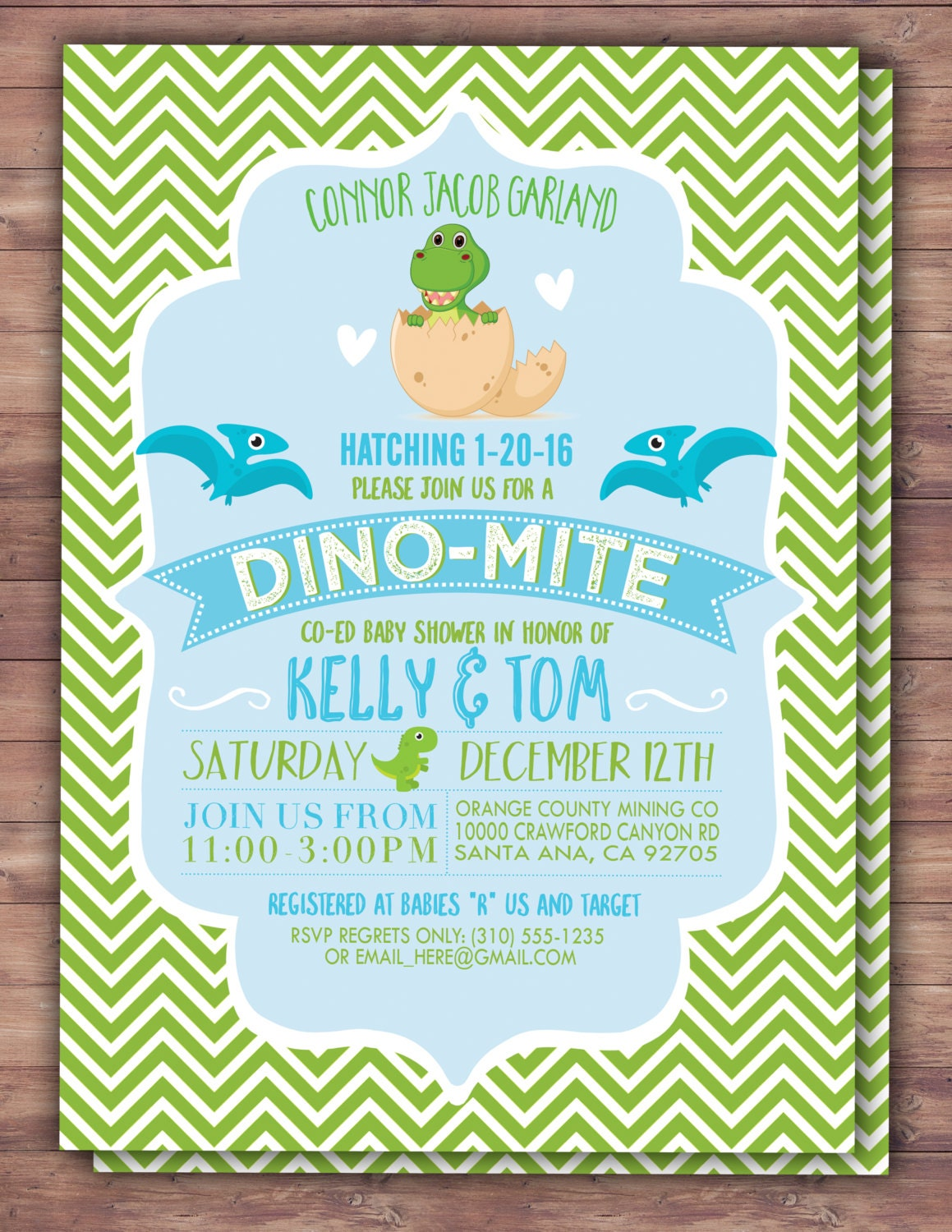 Dinosaur Baby Shower Invitation Dino Baby Chevron Pattern Etsy