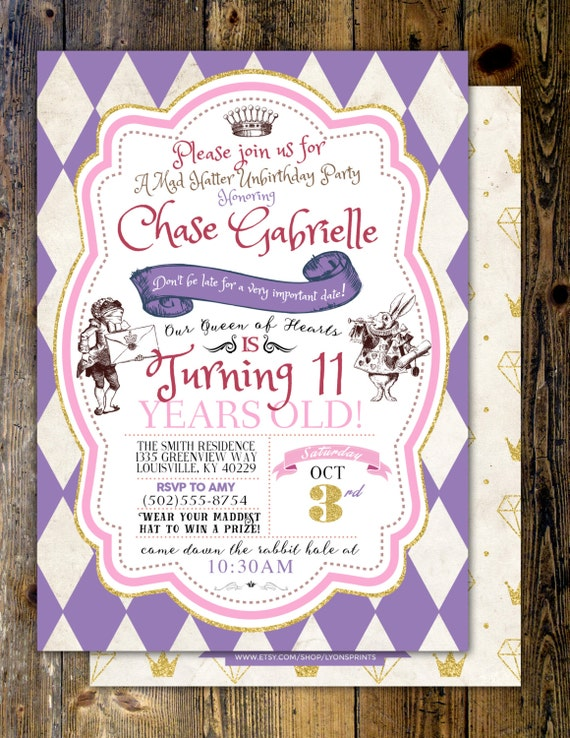 Mad Hatter Tea Party Alice In Wonderland Invitation Girl Birthday Printable For Or Wedding Coed Baby Shower