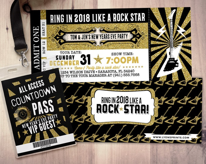 New Years Invitation - New Years Eve Invitation - New Years Party - New Years Invite - Rock Star Invitation - New Year's Eve Printable