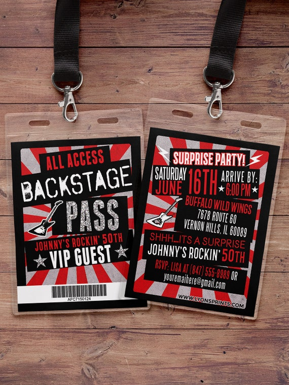 vip pass backstage pass concert ticket birthday invitation etsy