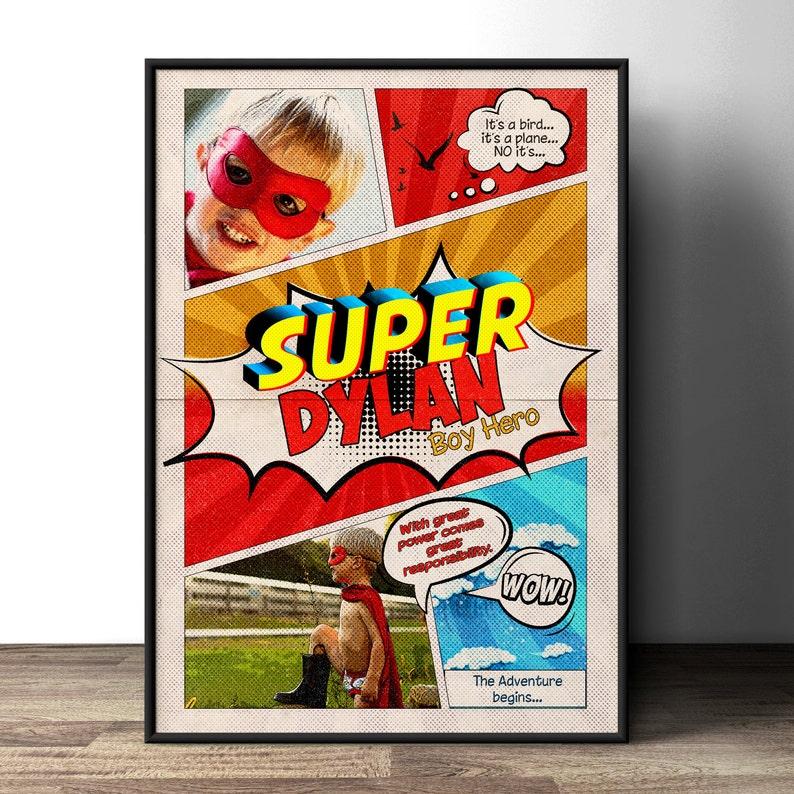 Custom comic poster party sign super hero comic birthday image 1