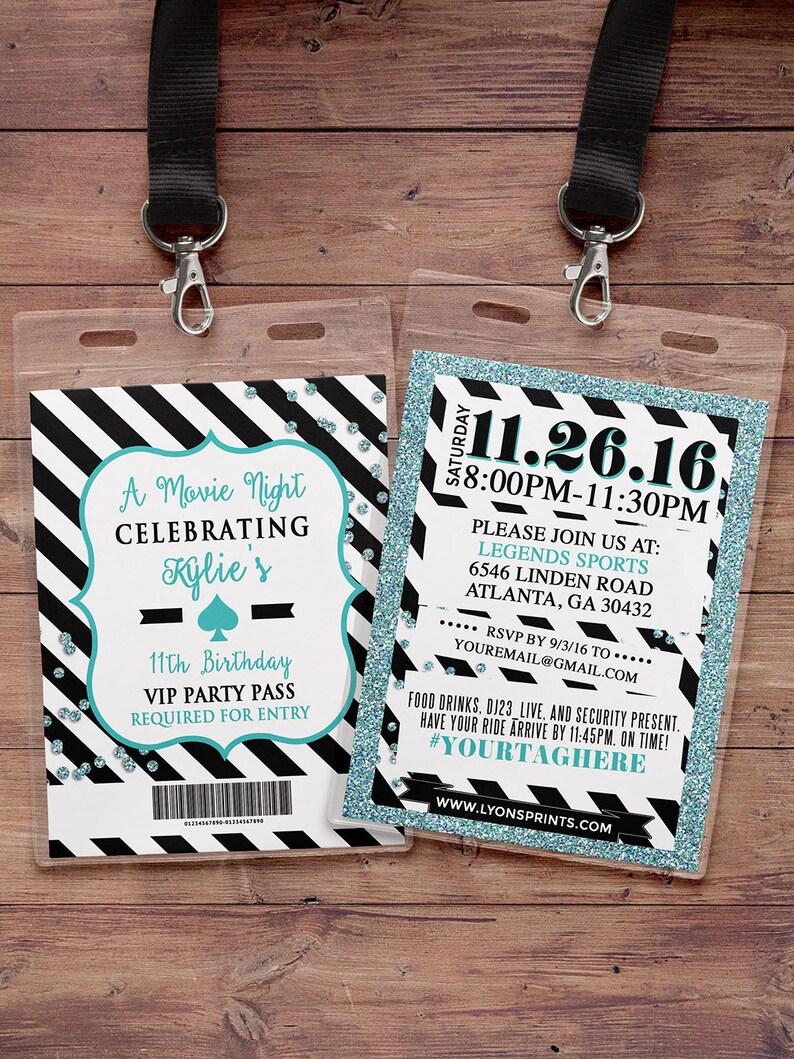 baby shower sweet 16 wedding VIP PASS 21st birthday birthday invitation invitation white party Spade party bridal shower