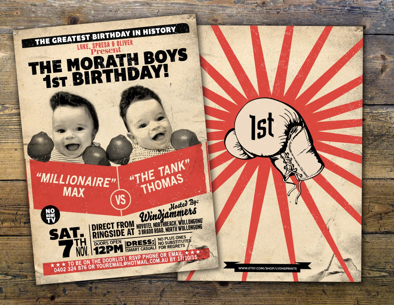 Retro vintage boxing birthday invitation, birthday, boxing, men\'s ...