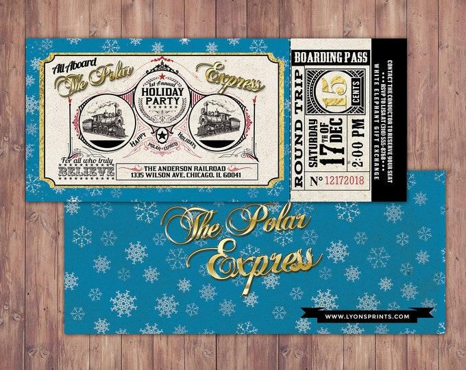 Polar Express HOLIDAY PARTY Invitation, Printable Holiday party Decorations, Polar Express invitation, Winter Wonderland, Christmas