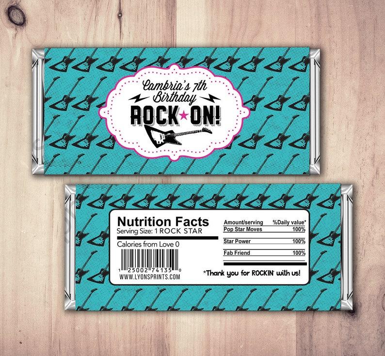 Rock Star wrapper Pop Star Wrapper \u2013 Printable Hershey/'s Bar Wrapper  \u2013 Birthday party favor Pop star party Party Favors Rock Star