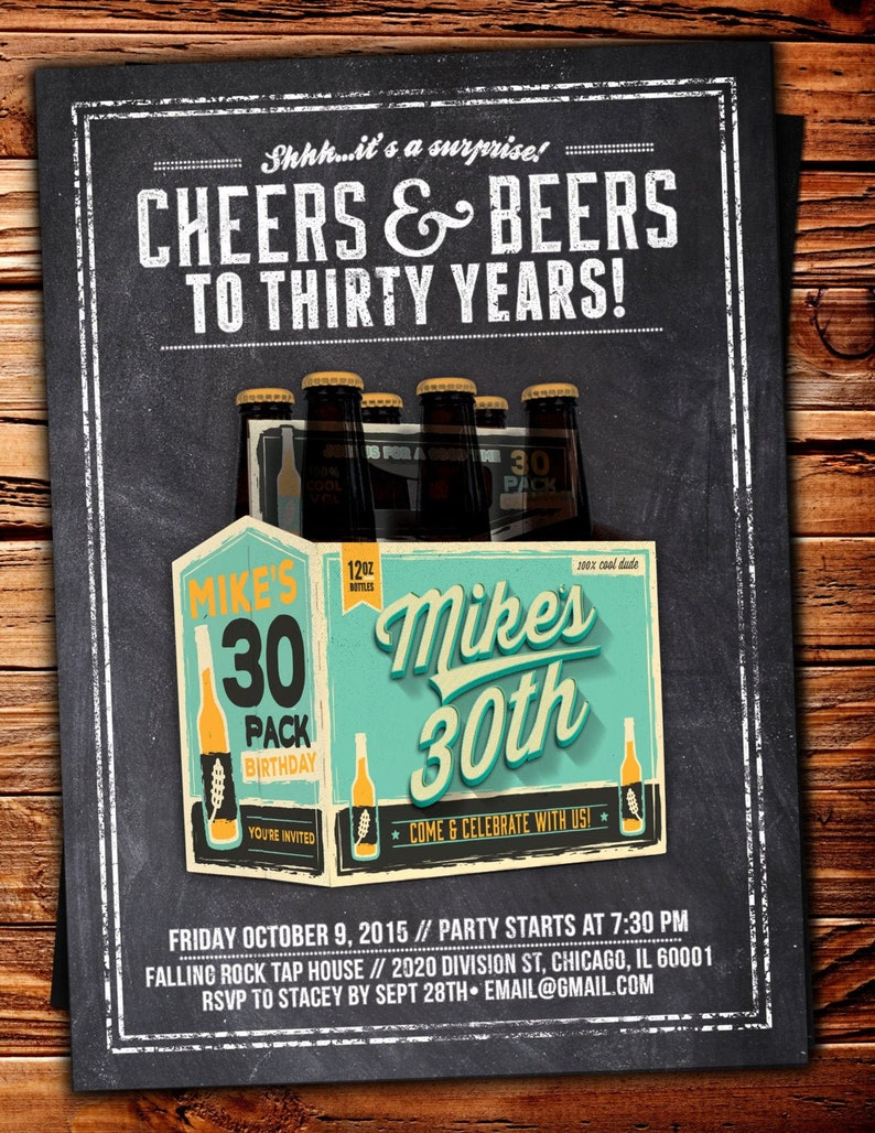 Cheers and Beers Birthday Invitation Cheers and Beers to 30 Turquoise