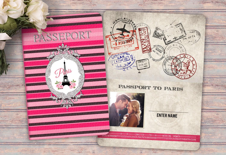 passport and ticket wedding shower invitation bridal shower wedding shower invitation paris eiffel tower first birthday bridal