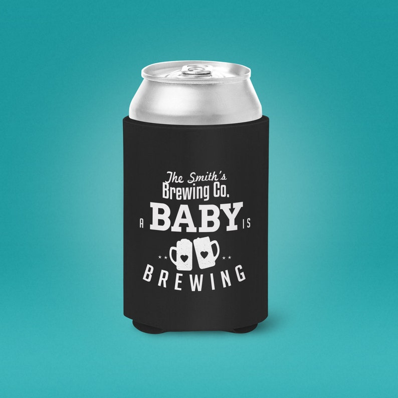 Digital logo file Baby is brewing can cooler Coed baby image 0