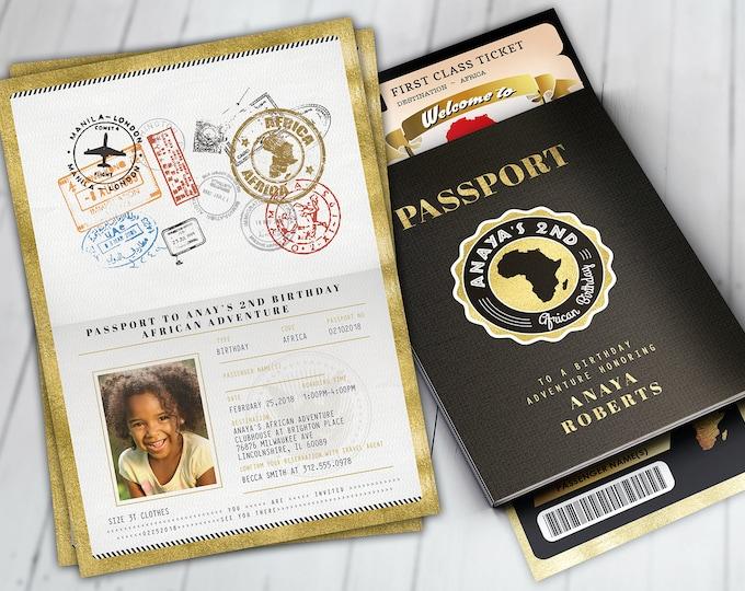 PASSPORT and TICKET Birthday invitation, Bridal Shower invitation, Africa Passport, African Birthday, African Birthday, Digital files only