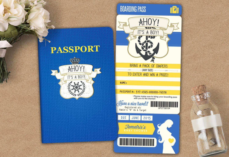Nautical passport and ticket baby shower invitation baby boy shower nautical passport and ticket baby shower invitation baby boy shower invitation travel baby shower invitation digital files only filmwisefo