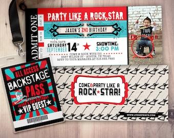 ROCK STAR concert ticket birthday party invitation- Music invitation- photo card, printable, rockstar party, rock star invitation, VIP pass