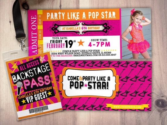girl birthday invitation pop star birthday invitation-music birthday invitation Rock Star-Concert ticket birthday invitation