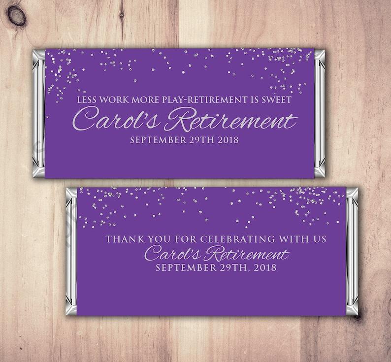 Retirement Candy Bar Wrapper Printable Digital FileCandy Purple