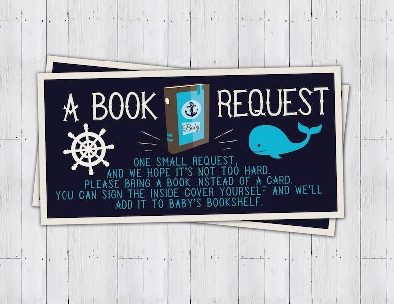 Baby Shower book request ticket Nautical boy shower baby image 0