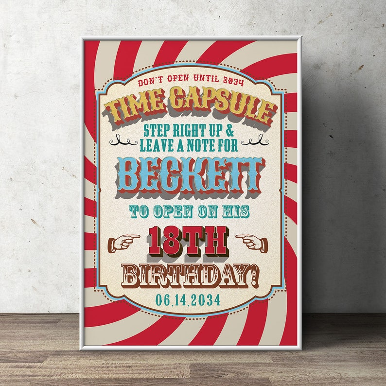 Time Capsule Carnival Party  Circus Party  Favor Table SIGN ONLY