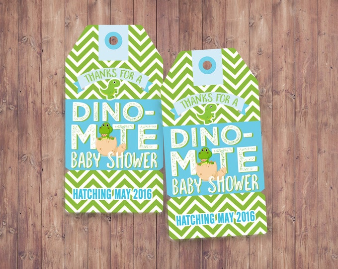 Favor tags,Dinosaur, baby shower, invitation, dino baby, chevron pattern, hatching, party decor, baby dinosaur, coed baby shower,birthday