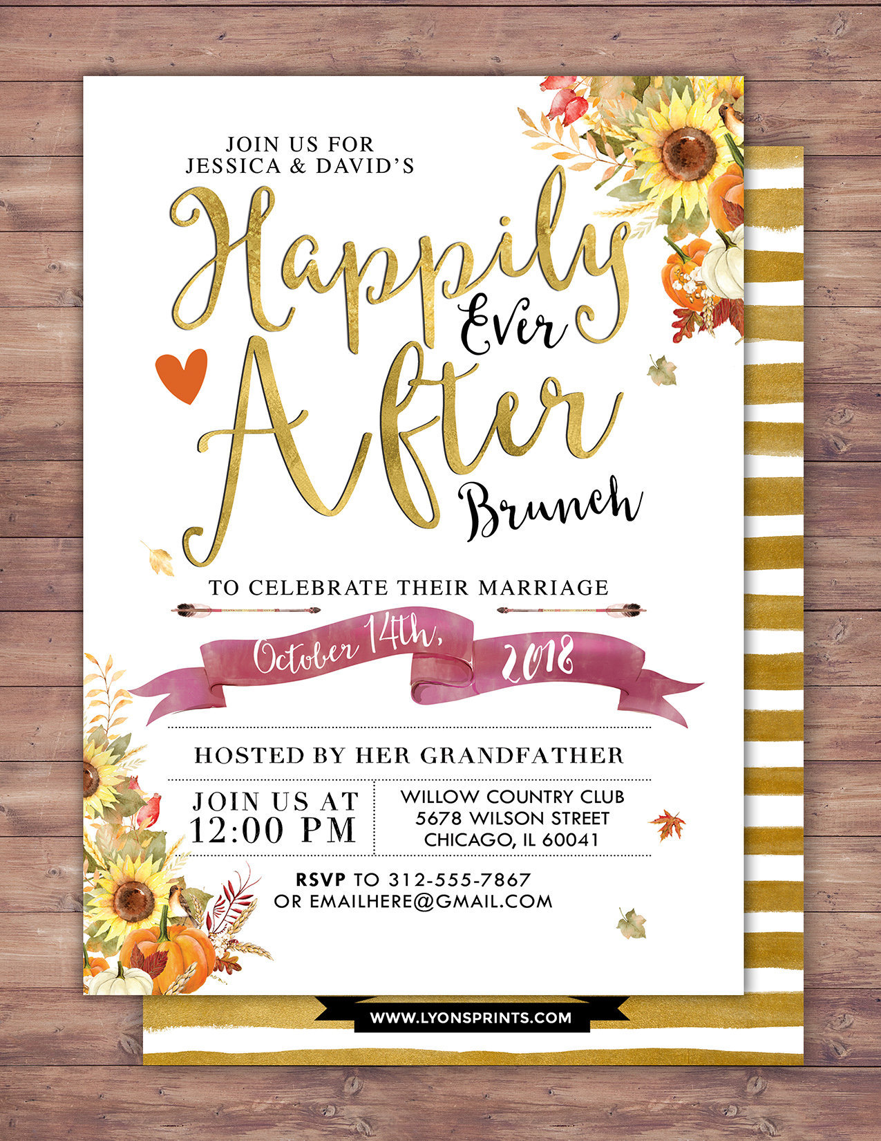 Happily ever after invitation, Autumn, Fall shower, BOHO wedding ...