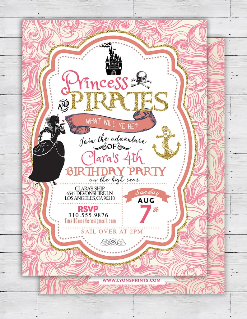 Pirate and Princess Party Invitations Personalised. Pirate and image 0