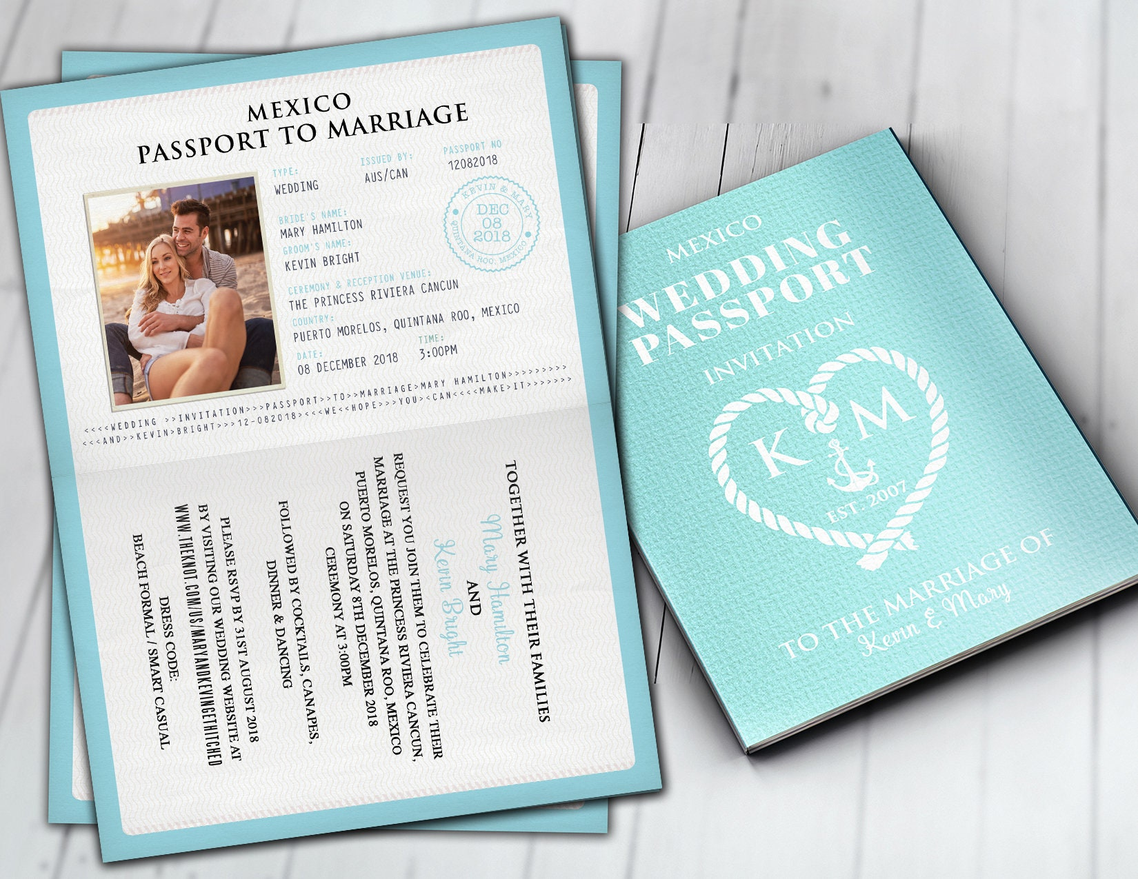 Wedding passport, Mexico passport, destination wedding, nautical ...