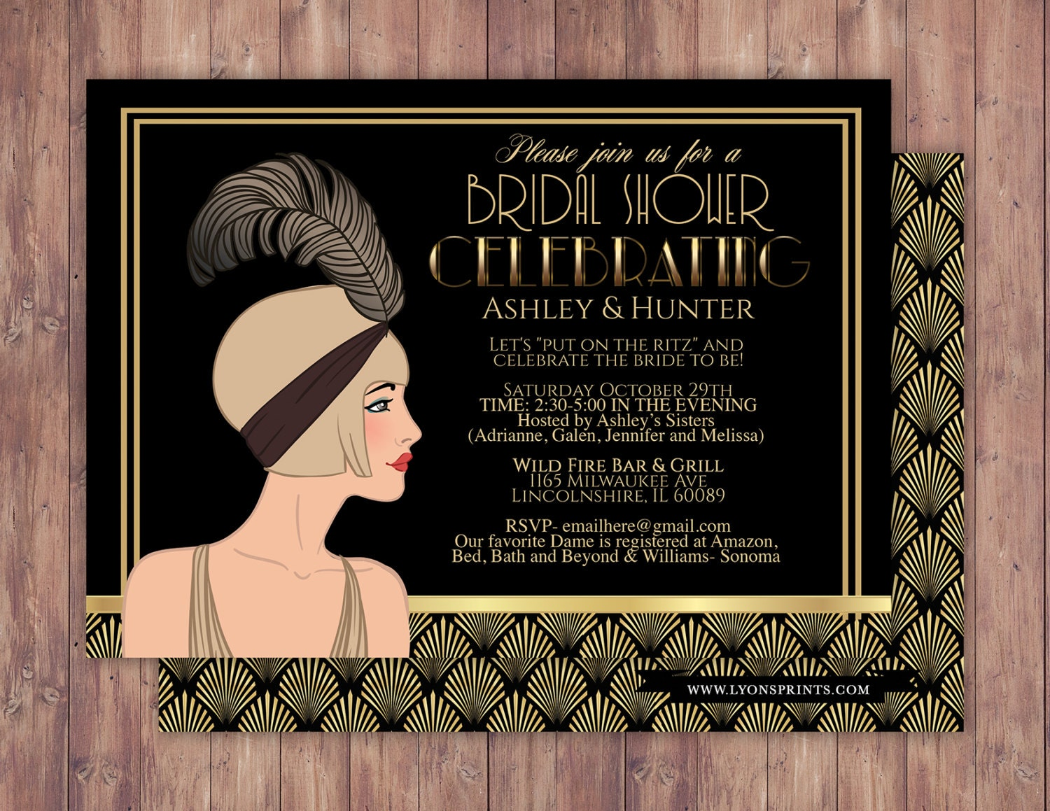 great gatsby wedding shower invitation hollywood film theme birthday party invite black and gold glam printable digital invite bridal