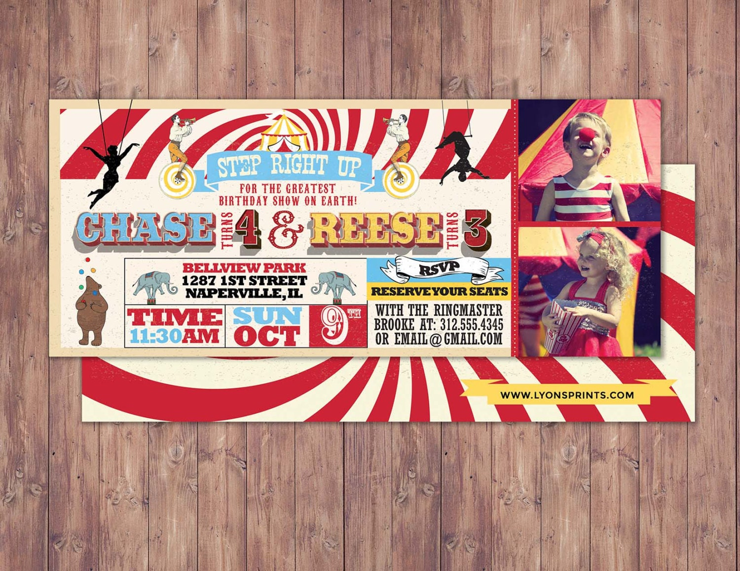 Birthday Circus Ticket Carnival Invitation