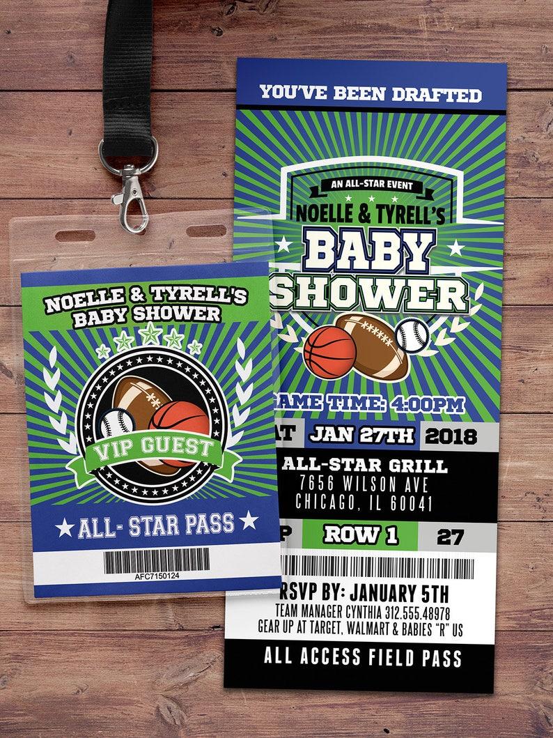 Football ticket Invitation Baby Shower All Star Birthday ALL-STAR-Green/Blue