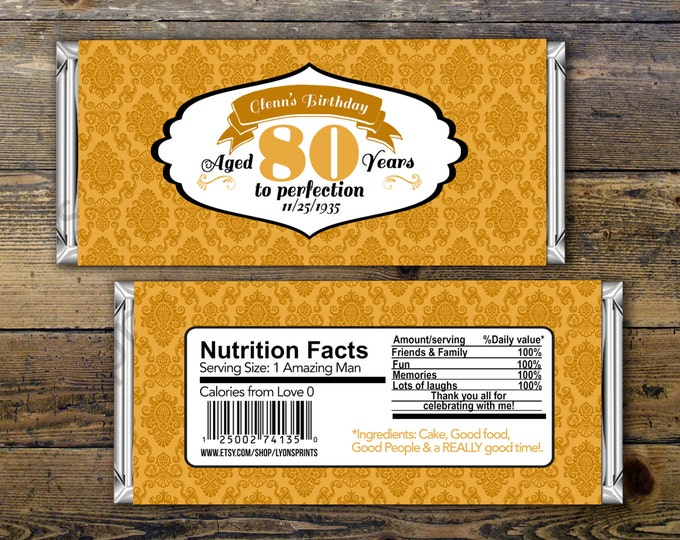 Birthday Candy Bar Wrappers - Gold, Silver Adult Milestone Favors 30th, 40th, 50th, 60th, 70th, 80th Any Age, vintage, party favor, gift