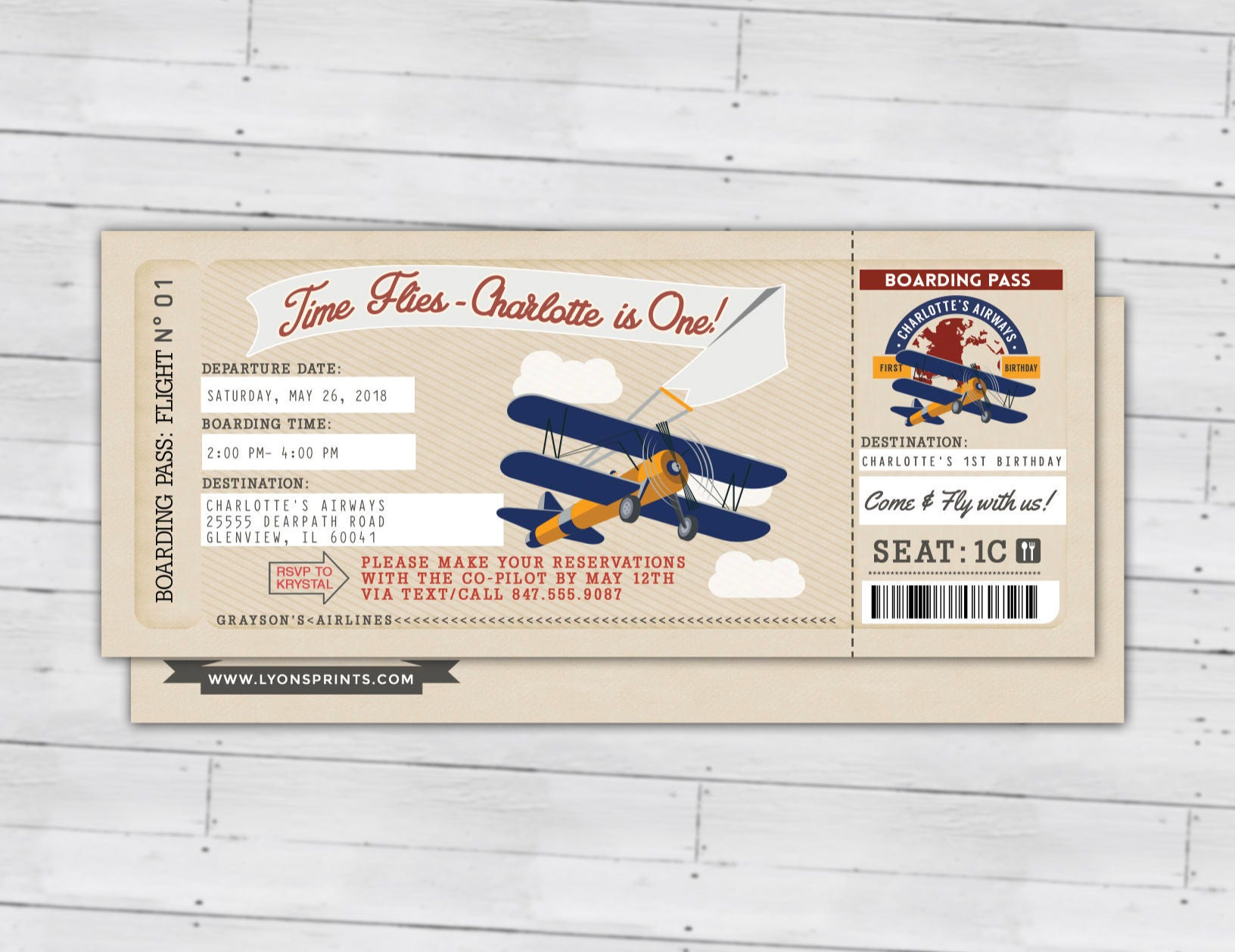 Time Flies Vintage Airplane Boarding Pass Birthday Invitation First Ticket Digital Files Only